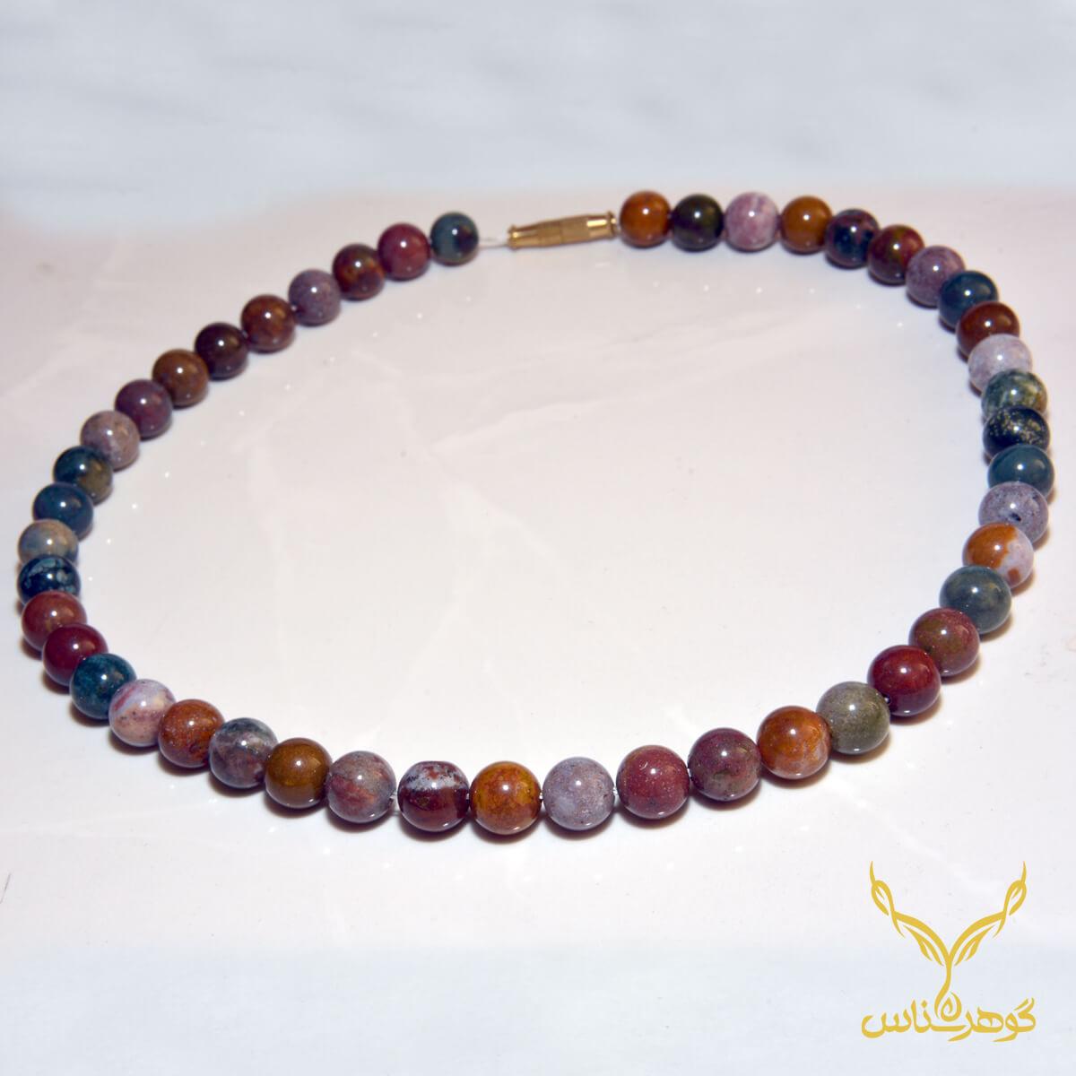 گردنبند سنگ طبیعی کدS002 این گردنبند از تعدادی عقیق که در رنگ های زیبا کنار هم چیده شده، تشکیل شده است.فروشگاه آنلاین گوهرشناس